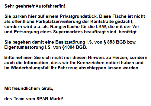 der shopblogger artikel mit tag falschparker. Black Bedroom Furniture Sets. Home Design Ideas